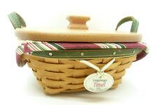 Longaberger 2005 Green Tree Trimming Tinsel Basket Combo Liner Lid Holiday Set