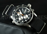 DEEP BLUE 40mm Blk Dial Silver Sub Dial Diver 1000 SAPPHIRE Watch w/ Extra Strap