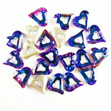 20Pcs Faceted Blue Titanium Crystal Heart Pendant Bead 10x10x3mm W342SJ