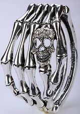 Silver Skull Skeleton Bones Bracelet Bangle Crystal Punk Bike Halloween BD17