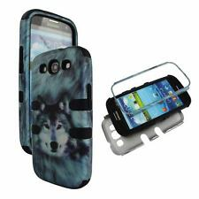 For Samsung Galaxy S 3 III i9300 Hybrid BlkStrip Wolf Hard Soft Cover