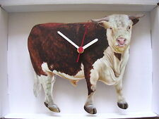 HEREFORD BULL WALL CLOCK. NEW AND BOXED.