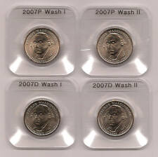 4 PC 2007 P & D TYPE I & II WASH PRESIDENTIAL UNC DOLLARS IN COIN EDGE HOLDERS