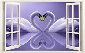 Super Huge Sizes Largest Ebay Swans in Love Purple Canvas Picture Wall Art Print