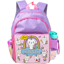 Personalised UNICORN School Bag Girls Backpack Childrens Kids Caticorn KS14
