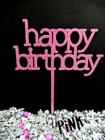 PINK GLITTER happy birthday PRINTED SIGN CAKE TOPPER DECORATION 3 PLY WOOD PARTY