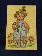 Stamp Affair Rubber Stamp - Patchwork Scarecrow with Crows - Halloween - Autumn