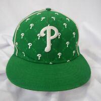 New Era 59Fifty Phillies Green & White Wool Baseball Cap Hat Lid Size 7 5/8