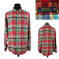 POLO Ralph Lauren Men's Cotton Red Check Casual Long Sleeve Shirt Size XL