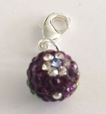 SHAMBALLA PAVE CRYSTAL PURPLE + FLOWER 10mm BALL CLIP ON CHARM - CZECH CRYSTALS