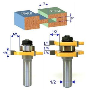 """2 pc 1/2"""" Shank Tongue and  Groove Assembly Router Bit Set S"""