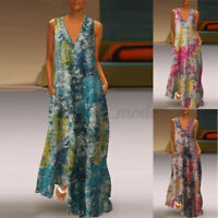 UK Women Sleeveless V Neck Casual Loose Cocktail Party Long Maxi Dress Plus Size
