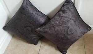 2 Dorma Kensington Paisley Print  Silk  Feather Cushions 43cm x 43cm - BNWT