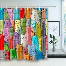 "Cartoon Cat Fabric Shower Curtain Funny Kitten Animal Bathroom Waterproof 71x71"""