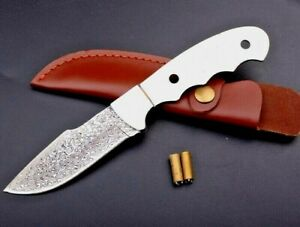 DIY Drop Point Knife Hunting Wild Tactical Combat Military VG10 Damascus Steel S