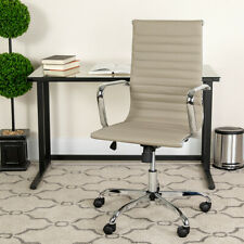 High-Back Modern Desk Ribbed Soft Mid-Centu Leather Adjustable Office Chair Seat