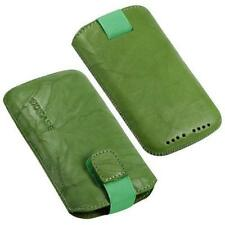 For Samsung Google i9023 Nexus S Phone Genuine Leather Pouch/Case / Case / Green