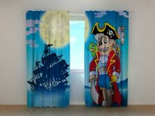 Foto-Vorhang 2-er Set Cortina Para Dormitorio Infantil Pirata Barco Pirata