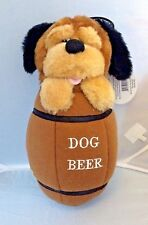 Paw Paw Pet Products Pup In Beer Barrel Dog Squeaky Stuffed Toy NEW Squeak
