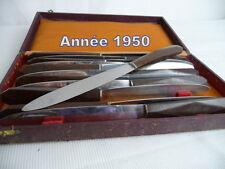 """12 COUTEAUX de table """" vntage"""",an 1950 Manches bakélit grenat, lame inox"""