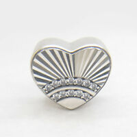 Authentic S925 Sterling Silver Fan of Love Heart Shape Bead with Clear CZ Charm