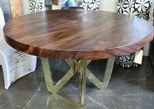 "55"" D Dining table solid acacia wood slab polished brass legs hand made modern"