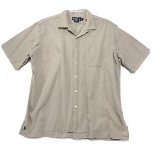 Polo Ralph Lauren CALDWELL Camp Shirt Mens XL Beige Loop Collar PONY Short Sl