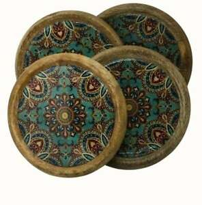 SET OF FOUR ROUND MANGO WOOD WINE COFFEE COASTERS PATTERNED TILE LOOK GREEN