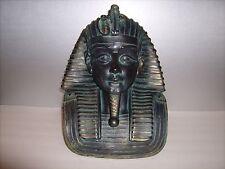 "EGYPTIAN PHARAOH KING TUT MASK BUST STATUE TUTANKHAMUN BRONZE PATINA RESIN 12"" h"