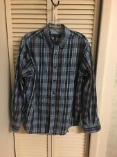 American Classics by Russell Simmons Men's Navy Plaid Button Down Shirt Size L