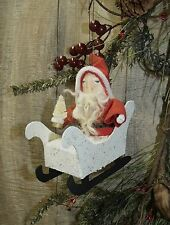 PRIMITIVE/Christmas/Santa sleigh/vintage look ornament/handmade/sisal tree