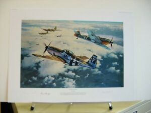 Clash of Eagles P-51 Mustang Me109 Fighter Anthony Saunders Signed Aviation Art