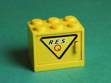 Lego Yellow Cabinet w/ R. E. S. Q  Logo Sticker on Yellow Door