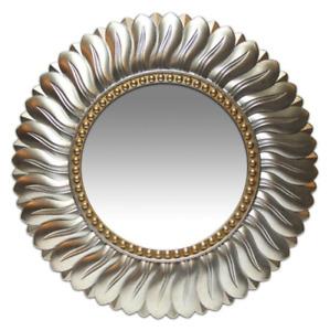 Glamorous Round Sunburst / Flower Decorative Wall Mirror Silver & Gold 22 in