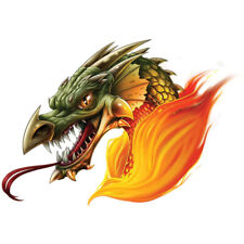 """""""Dragon"""" Temporary Tattoo, Green Dragon Head w/ Forked Tongue in Fire Flames"""