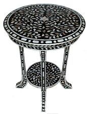 HANDMADE MOP INLAY WOODEN ROUND CLASSIC SIDE STOOL (46 X 46 X 60 Cms)