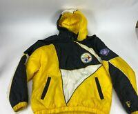 Vintage Pro Player NFL PITTSBURGH STEELERS Pullover Half Zip Hooded Coat Sz XL