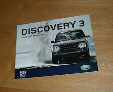 Land Rover Discovery 3 Price List April 2008 - 2.7 TDV6 GS XS SE HSE Commercial