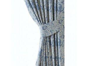 Gallery William Morris Compton Blue Unlined Curtains & Tiebacks