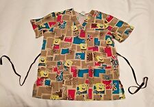 SPONGEBOB SQUARE PANTS Womens SCRUB Top SS S Shirt Nickelodeon 50284 Sponge Bob