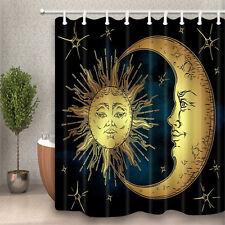 "Creative Moon Sun Stars Fabric Shower Curtain Bathroom Waterproof & 12 Hooks 71"""