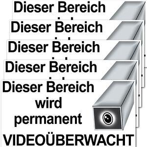 5 Aufkleber 20cm Dieser Bereich wird permanent Videoüberwacht cctv Kamera Alarm
