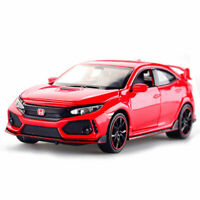 1:32 Honda Civic Type R Model Car Diecast Toy Vehicle Pull Back Sound Red Kids