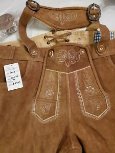 NEW!US Sz.44.Germany,Trachten,Lederhosen w.Suspenders.Oktoberfest.Med.Brown long