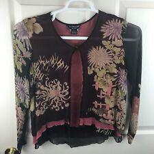 Women's Citron Santa Monica Open Front Silk Floral Sheer Shirt Top Medium