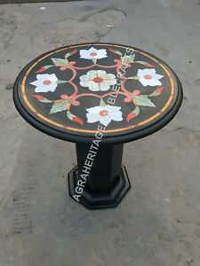 """18"""" Black Marble Round Coffee Table Top With Stand Inlay Art Patio Decor E1384"""