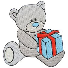 Teddy Bear Christmas Birthday Gift Box Toy Cartoon Kids Iron-On Patches #TG012