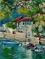 YARY DLUHOS Greece harbor village port boat Santorini Isle Original Oil Painting