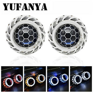 "Honeycomb 2.5"" HID Bixenon Projector Lens Halo LED Angel Eyes H1 H4 H7 Headlight"