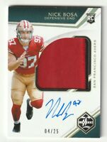 2019 Panini Limited Jersey Patch Auto GOLD RC Nick Bosa Variation /25 RPA #148